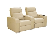 Luxury Oscar Home Theater Seating in Cobblestone Leather with Refrigerator and Cup Coolers