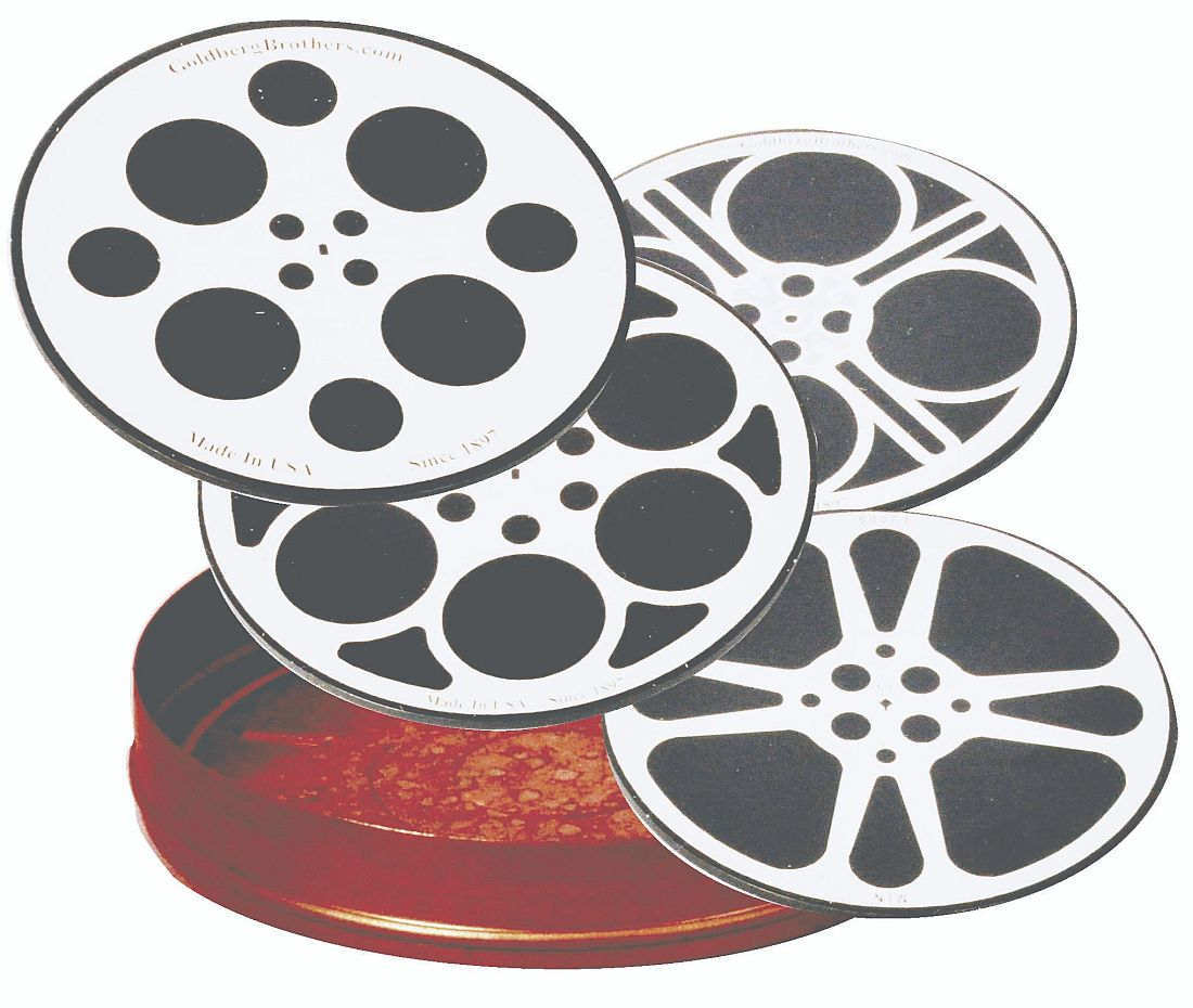 "New Movie Reel Coaster Set and 5"" Holding Can"