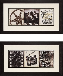 """The Drama"" and Film Clapboard Framed Theater Wall Art Pair"