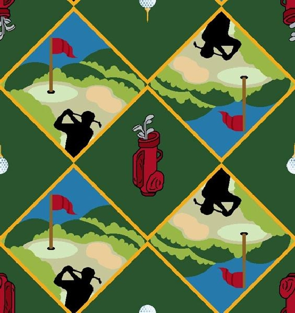Spike & Tee Golf Theme Carpet