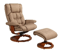 Mac Motion Vinci Euro Recliner and Ottoman in Stone Nubuck Bonded Leather