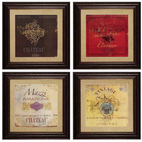 Four Piece Wine Framed Wall Art Set