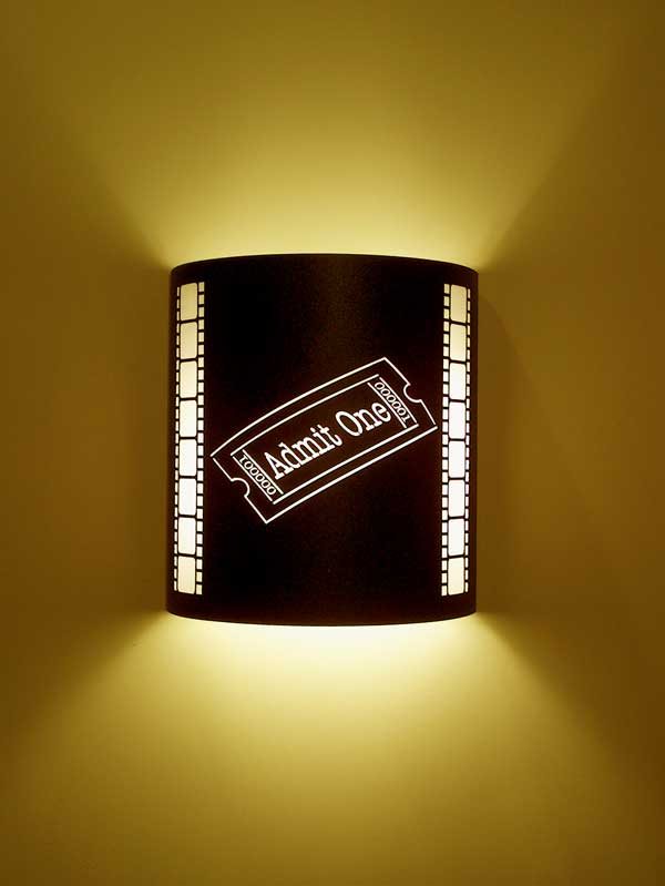 Admit One Movie Ticket Theater Sconce With Filmstrip