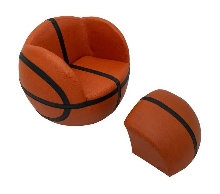 Basketball Upholstered Chair with Ottoman
