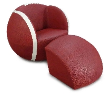 Football Upholstered Chair with Ottoman