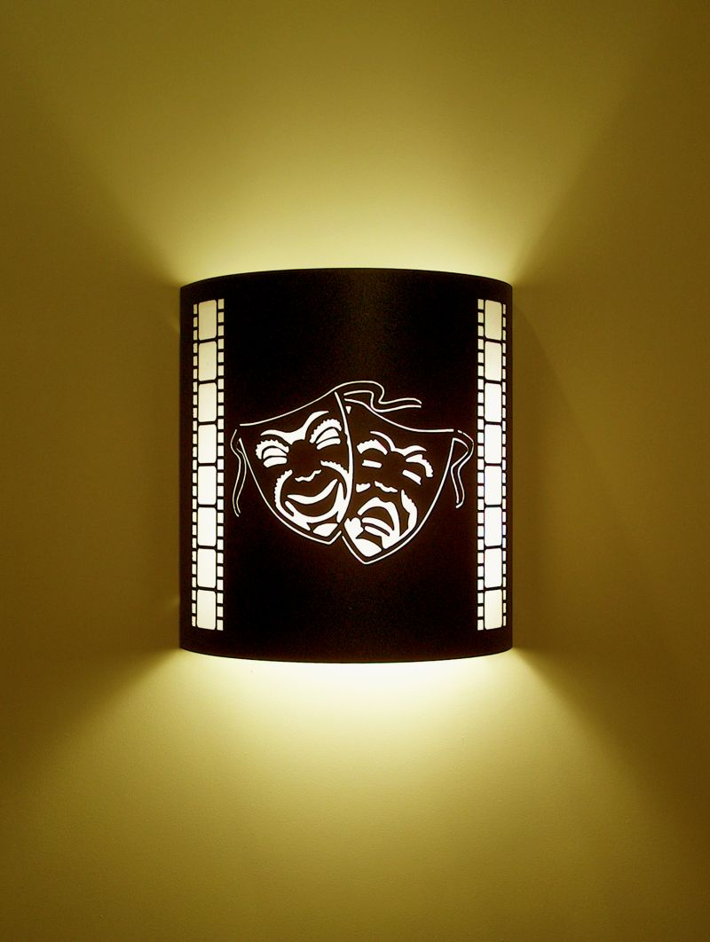 Comedy and Tragedy Mask Theater Sconce (with filmstrip)