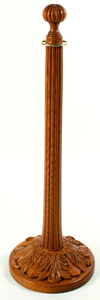 Red Oak Solid Wood Stanchion with Lined Top and Acanthus Leaf Base