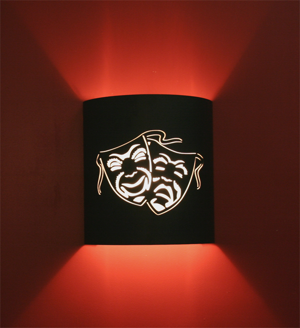 Comedy and Tragedy Mask Theater Sconce