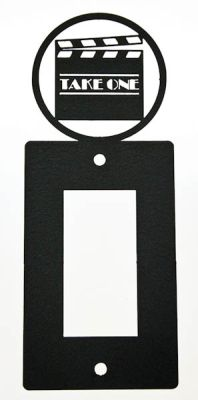 Black Metal Theatrical Light Switch Plates