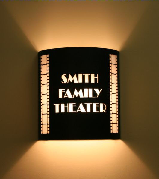 Custom Theater Sconce With Vertical Filmstrips