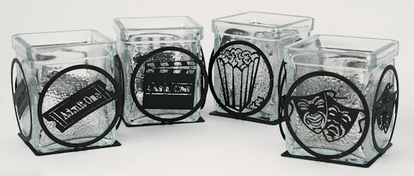 Black Metal Art Votive Gift Package