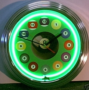 Billiards Ball Green Clock