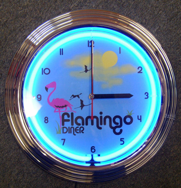 Flamingo Diner Clock