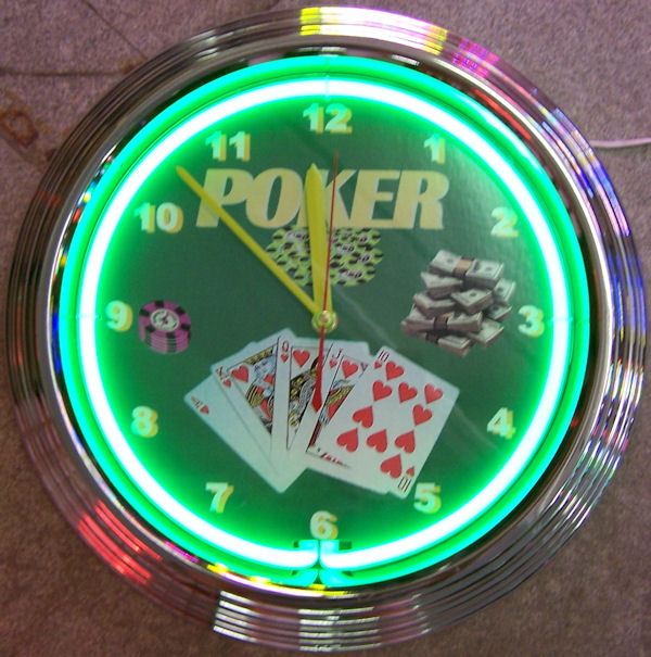 Poker Green Clock