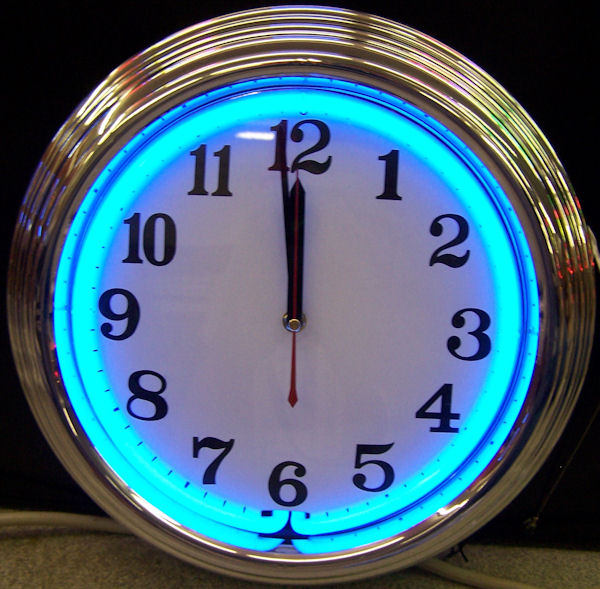 Standard Chrome Blue Clock