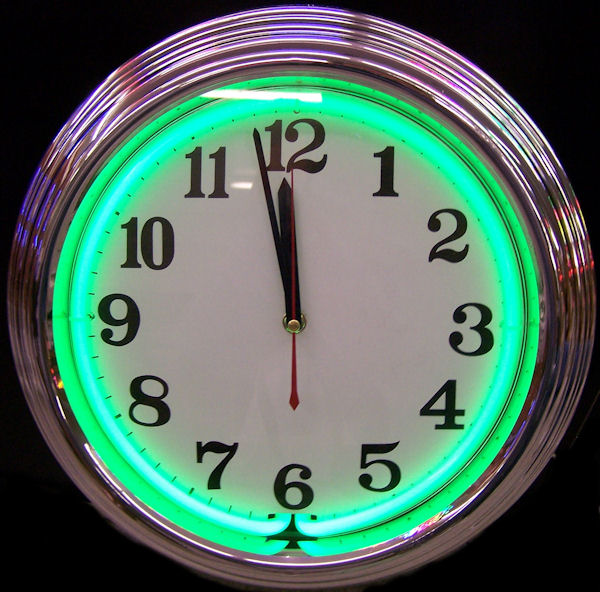 Standard Chrome Green Clock