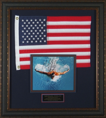2008 Olympic Gold Medalist Michael Phelps signed collage