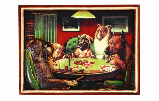Poker Dogs with Cigars Sign