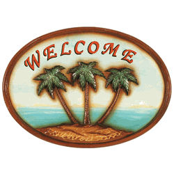 Welcome Sign With Palm Trees