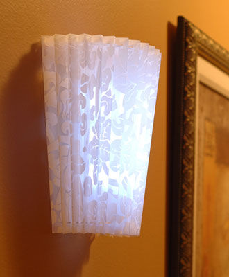 Faux Lace Fan Fold White Acrylic Shade Battery Powered Sconce