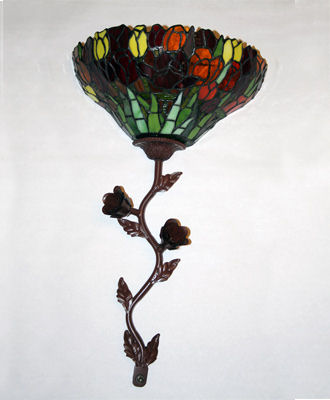 Stained Glass Tulip Battery Powered Sconce