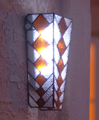 Stained Glass with Amber Colored Diamond Pattern Battery Powered Sconce