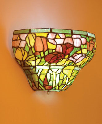 Stained Glass Rose Half Moon Battery Powered Sconce