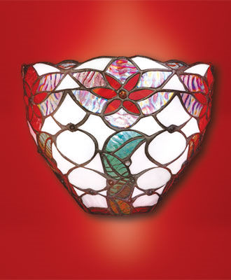 Stained Glass Holiday Bowl Battery Powered Sconce