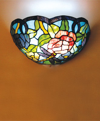 Stained Glass Dragon Fly Battery Powered Sconce