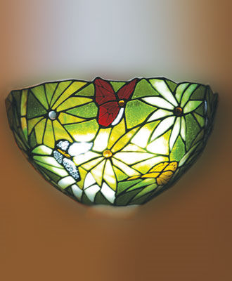 Stained Glass Rainforest Design Battery Powered Sconce