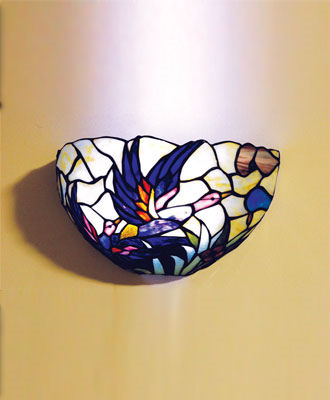 Stained Glass Mallard Half-Moon Battery Powered Sconce