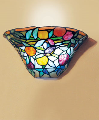 Stained Glass Peaches & Bird Half-Moon Battery Powered Sconce