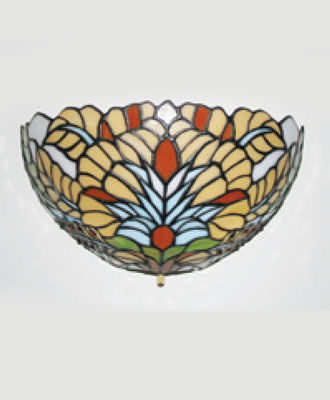 Stained Glass Appolonia Half Moon Battery Powered Sconce