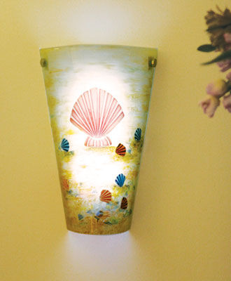 Contemporary Tan Frosted Glass with Sea Shell Battery Powered Sconce