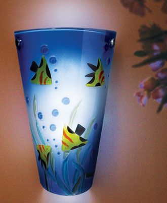 Contemporary Aquarium Scene Battery Powered Sconce