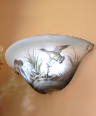 Half-Moon Hand Painted Duck Battery Powered Sconce