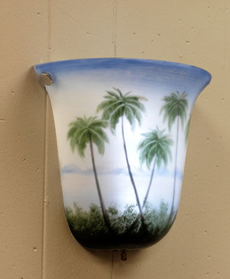 Bell Shaped Hand Painted Coconut Battery Powered Sconce