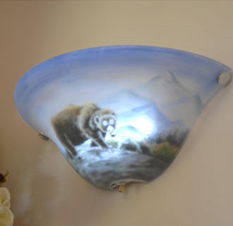 Half-Moon Hand Painted Bear Battery Powered Sconce