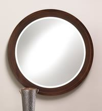 Wood Frame Espresso Finish Round Mirror