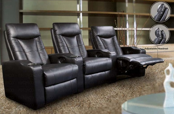 CLEARANCE Pavillion Home Theater with Adjustable Headrest in Black Curved Row of 3(Open Box)