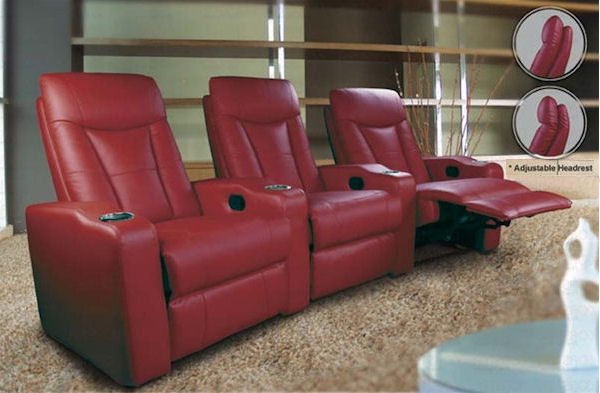 Pavillion Home Theater with Adjustable Headrest in Red