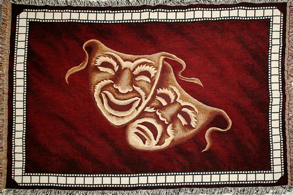 NEW! Comedy Tragedy Deluxe Home Theater Throw Blanket in Burgundy