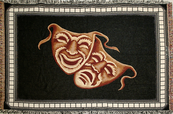 NEW! Comedy Tragedy Deluxe Home Theater Throw Blanket in Black