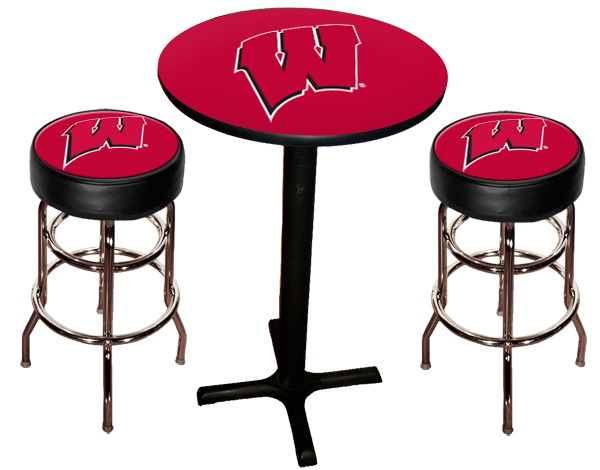 Wisconsin Badgers Pub Table With Two Stools Stargate Cinema
