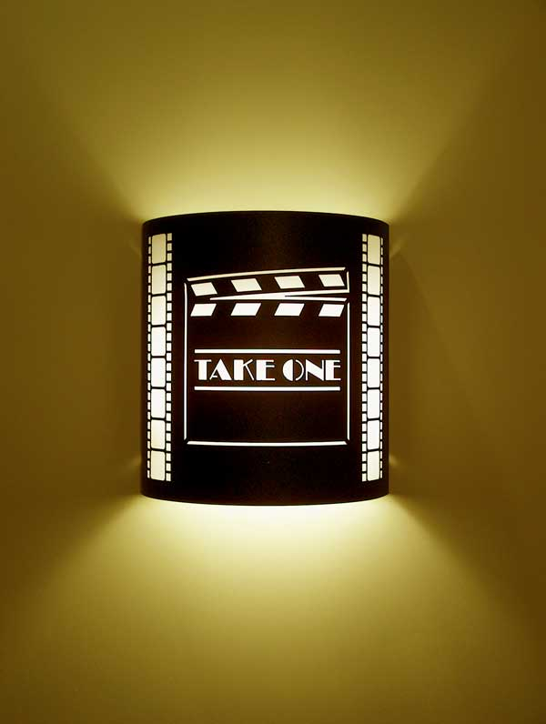 """Take One"" Clapboard Theater Sconce (with filmstrip)"