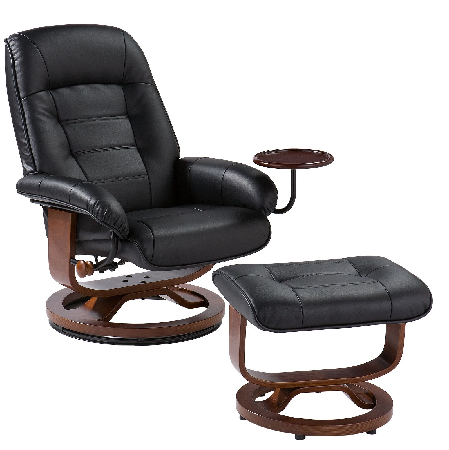 euro style recliner and ottoman in black leather stargate cinema