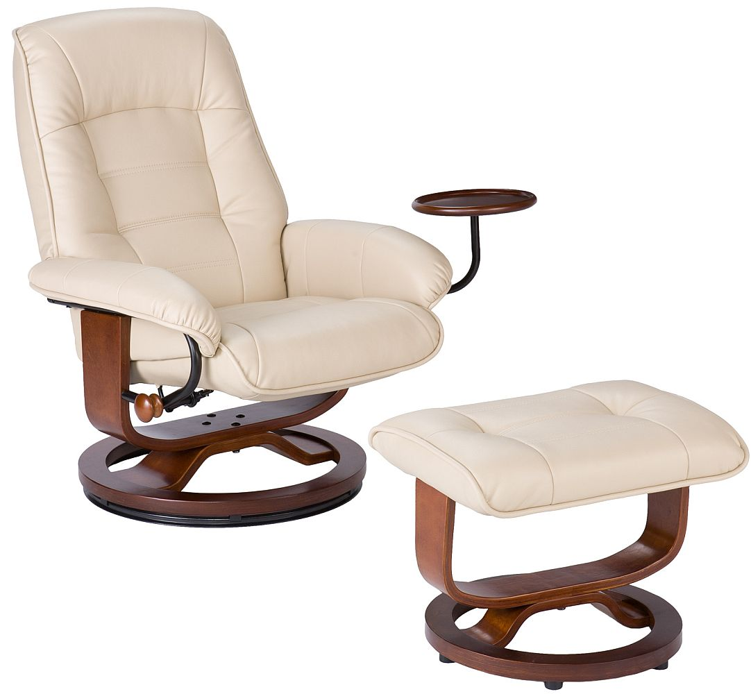 List Price: $599.00; Taupe Leather Recliner And Ottoman