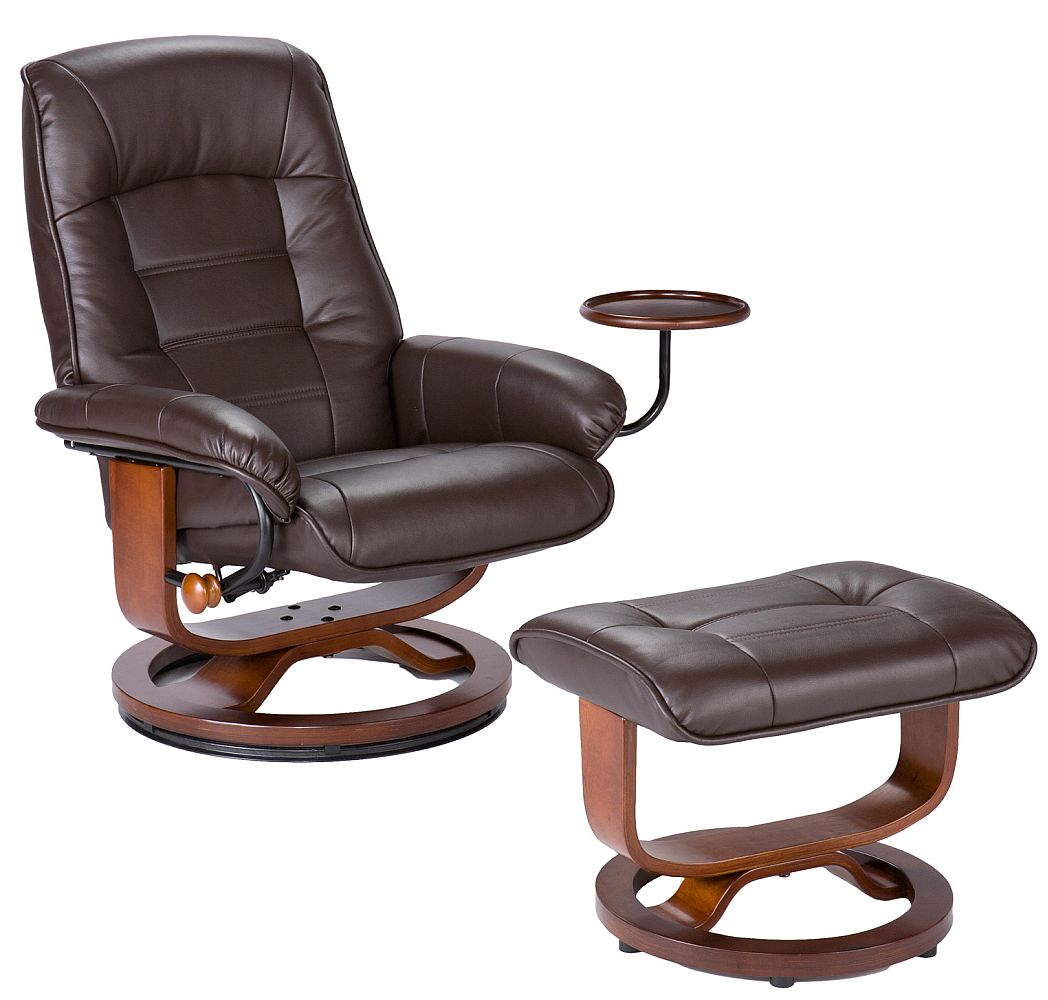 Genial Cafe Brown Leather Recliner And Ottoman