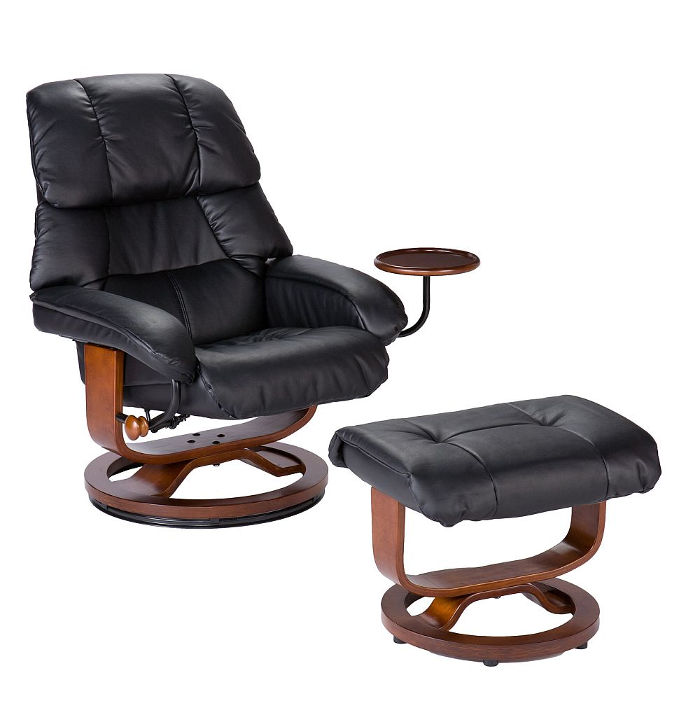 Pleasant Euro Style Recliner And Ottoman In Black Leather Stargate Spiritservingveterans Wood Chair Design Ideas Spiritservingveteransorg