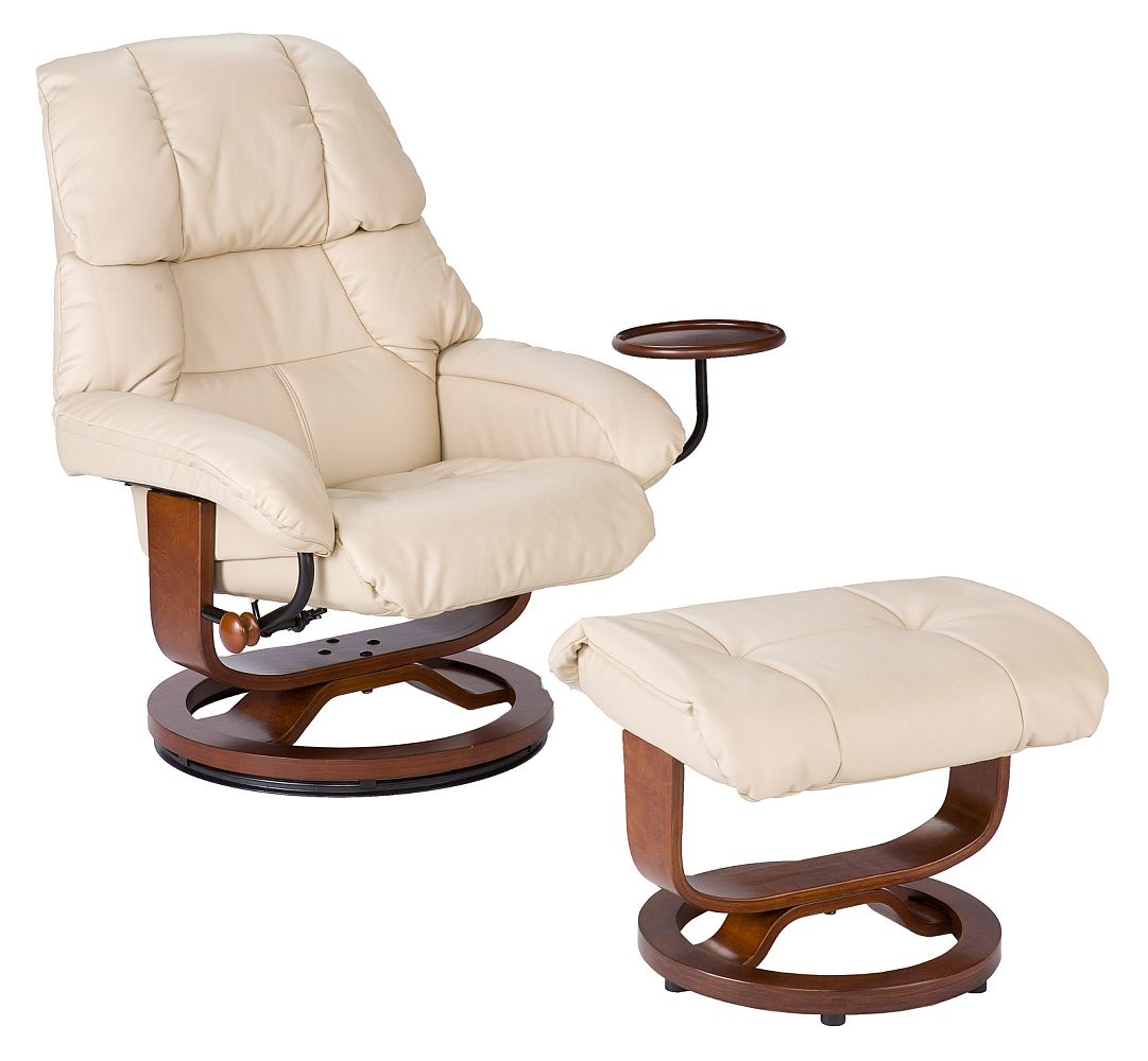 Taupe Leather Recliner and Ottoman